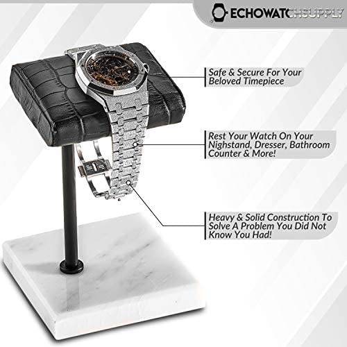 Handcrafted Leather & Marble Watch Display Stand for Rolex, Omega, Patek Philippe, Audemars Piguet, Richard Mille, Breitling, Tudor, Cartier, TAG Heuer (Black Pole - White Marble, Single Leather) WeeklyReviewer