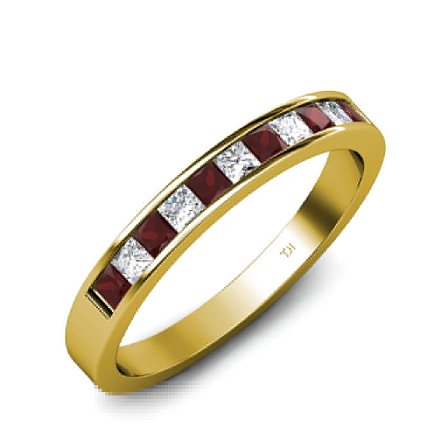 Red Garnet and Diamond (VS1-VS2-Clarity,F-G-Color) Princess Cut Wedding Band 0.55ct tw In 18K Gold.