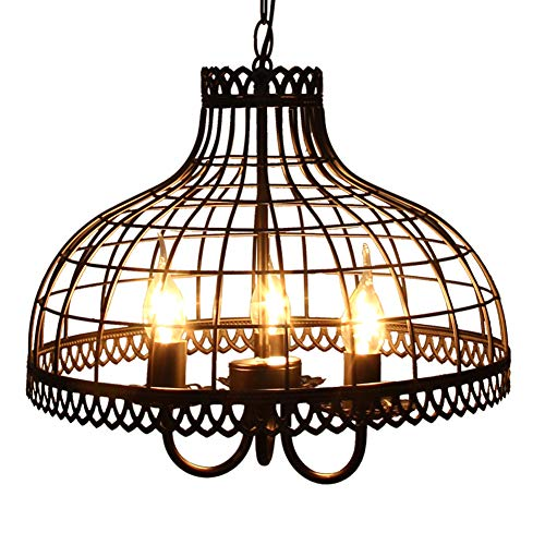 AOKARLIA Industrial Pendant Lamps 3-Head Chandelier Metal Ceiling Lighting Iron Chain Light Shades Living Room, Balcony, Corridor, Restaurant, Dinner Hall -