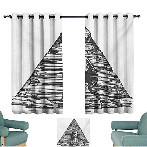 DONEECKL Decor Curtains Egyptian Sketch Art of Sphinx and The Pyramid Old Ancient Empire Historical Icon Blackout Draperies for Bedroom Window W63 xL72 Charcoal Grey White