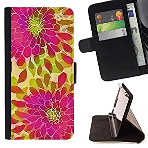For Samsung Galaxy Note 5 5th N9200 Case , Pétalo Verde Rosa Púrpura- la tarjeta de Crédito Slots PU Funda de cuero Monedero caso cubierta de piel