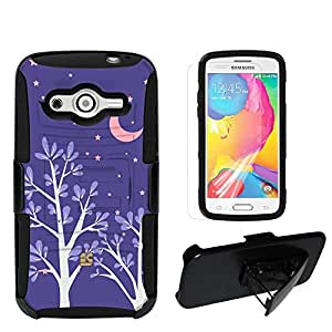 Beyond Cell ®Durable Shell Case Combo For Samsung Galaxy Avant G386T/G386 (T-mobile,International) 2 Layer Protection High Impact Hard +Soft (Silicone) Hybrid Rugged Protective Case with Built in Kickstand and Belt Clip Holster With Design - Purple Night Design - Retail Packaging