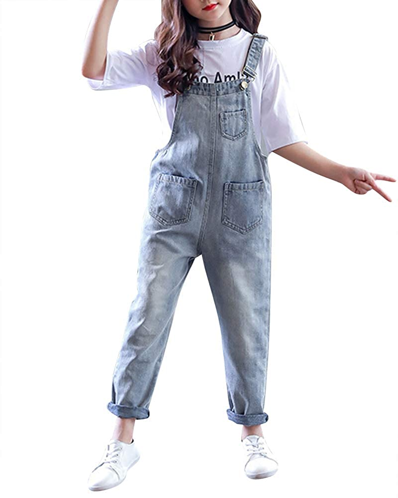 AnyuA Salopette Bambini, Ragazze Pantaloni in Denim, con Slim Fit Gamba