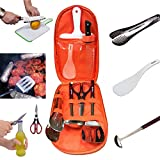 7-Piece-Outdoor-Camping-Barbecue-Cookware-Kitchenware-Set-Cooking-UtensilsCutting-Board-Soup-PaddleTongs-ScissorsSpoon-and-Knife-FlatwareStainless-Steel-Turner-With-A-Storage-Bag