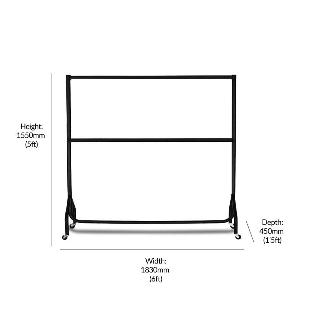 Displaysense 2 Tier 6ft Black Heavy Duty Clothes Rail