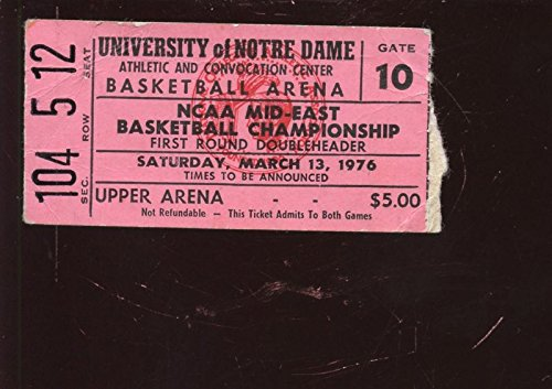 - March 13 1976 NCAA Basketball Mid East Championship Game Ticket Stub Notre Dame