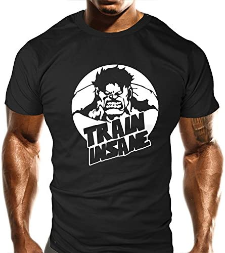 Training Top New Crazy Beast Round Train Insane Gym T-Shirt Sports Bodybuilding Casual Loose Fit Top Funny