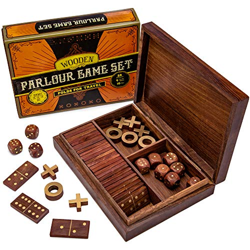 (Vintage Wooden 3-in-1 Parlour Game Set | 28 Dominoes, 9 Tic-Tac-Toe Tokens, & 10 Wooden Dice | Includes Engraved Travel Display Chest | Play 3 Classic Board)