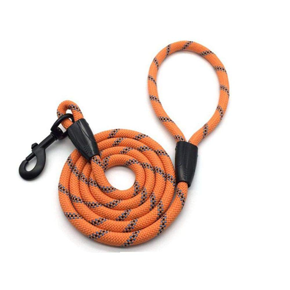 LHWJC Nylon Braided Dog Rope Pet Leash Dog Traction Rope Leashes Dog Walking Training for Small Medium Large Dogs orange