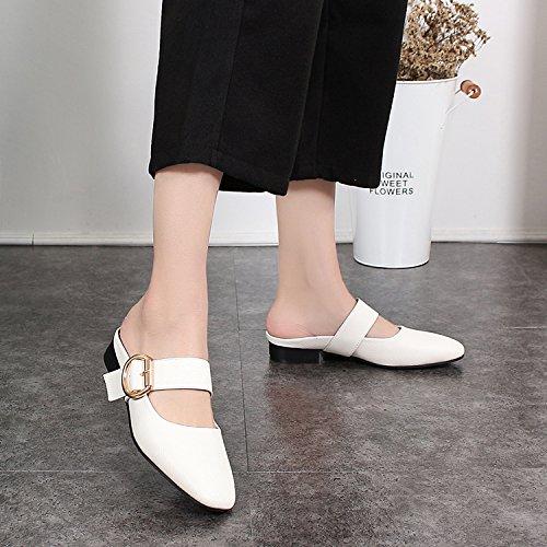 Qingchunhuangtang@ Baotou All-Match Square Weiß mit groben Schuhe Sandalen Hausschuhe Weiß Square 132cfd