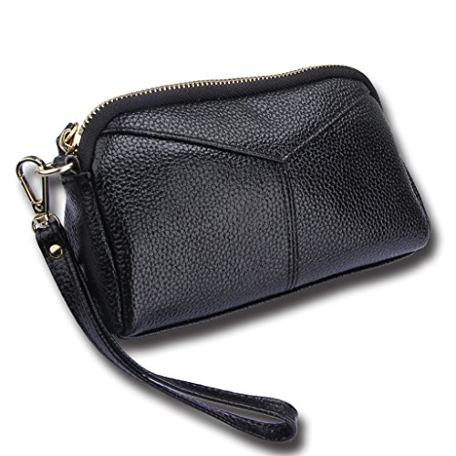 Women Genuine Leather Wallet Clutch Purse Handbag Bag Trifold Bifold Black - 3