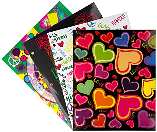 Emraw Laminated Fashion Love & Peace 2 Pocket File Portfolio Folder - Used for Papers, Loose-Leafs, Business Cards, Compact Discs, Etc. (4-Pack)