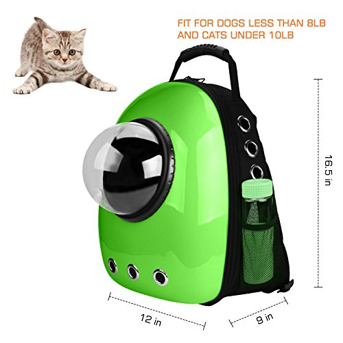 Anzone Pet Portable Space Capsule Carrier Backpack,Pet Bubble Window Traveller Knapsack Waterproof Lightweight Handbag for Cats Small Dogs & Petite Animals-Green
