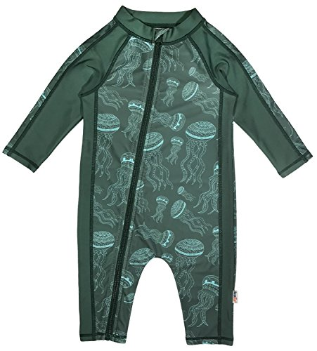 Boys Sunsuit - SwimZip Little Boy Long Sleeve Sunsuit with UPF 50 Sun Protection Jellyfish Green 18-24 Month