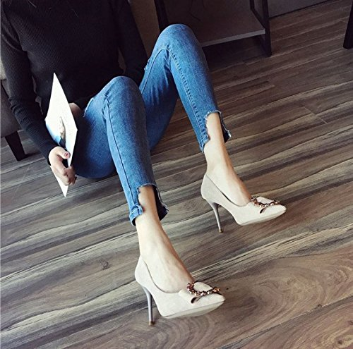 Lady 5Cm MDRW Fine 6 Fashion Suede Buckle Elegant A Point Diamond Leisure Work Heels Temperament High Spring 35 All Match Shoes With White vqdAqw