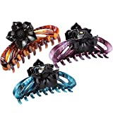 LONEEDY 3 Pack No-slip Grip Large Crystal Plastic Octopus Flowers Jaw Clips Hair Claw Banana Clips for Women (Purple + Blue + Brown)