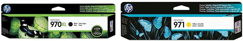 HP 970 | PageWide Cartridge High Yield | Black | CN625AM & 971 | PageWide Cartridge | Yellow | CN624AM