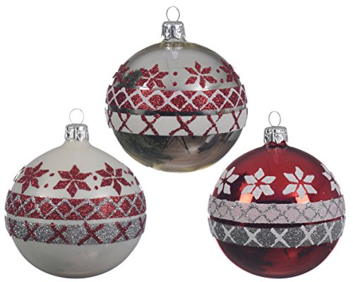 (Set of 3 Nordic Pattern Christmas Tree Decorations Round Hand Blown Glass Christmas Tree Baubles Decorations - White, Silver & RED with Glitter - 8cm)