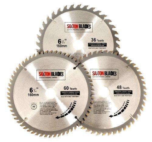 3X Saxton TCT Lames de scie à bois circulaire 160mm x 20mm pour Festool Ts55Bosch Makita Lot C Saxton Trading