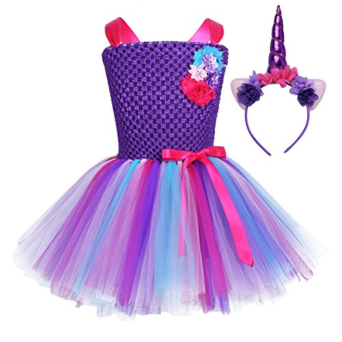 iEFiEL Kids Girls Princess Dress Fancy Costume Sleeveless Tutu Dress with Headband Cosplay Party Outfits Set Type D 3-4 ()