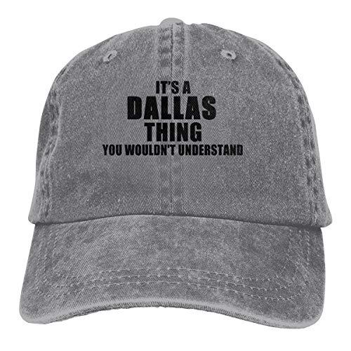 ASDD It's A Dallas Thing Slouch Unisex Denim Dad Hats Adjustable Baseball Cap Gray