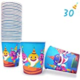 30 Baby Cute Shark Cups for Birthday Party Supplies, Disposable Paper 9oz Cup, Doo Doo Decorations