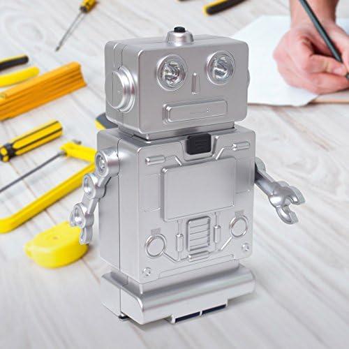 1 Destornillador con 10 Puntas Pilas: 3xAAA Balvi Set Herramientas Robot Color Plateado con luz no Incluidas Pl/ástico ABS 4 Destornilladores de precisi/ón y Cinta m/étrica retr/áctil 1m