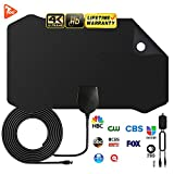 HDTV Antenna Amplified Digital HD TV Antenna 120+ Mile Range 4K 1080P Indoor Powerful HDTV Amplifier Signal Booster VHF UHF Freeview Television Local Channels w/Detachable Sign (Black)