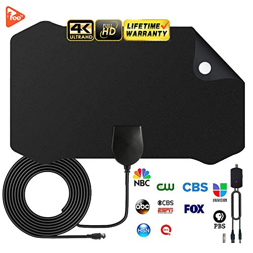 HDTV Antenna Amplified Digital TV Antenna 120+ Mile Range 4K 1080P Indoor Powerful HDTV Amplifier Signal Booster VHF UHF Freeview Television Local Channels w/Detachable Sign