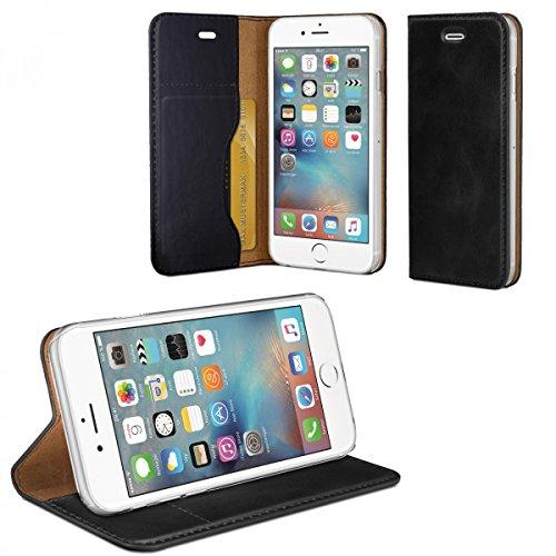 eFabrik Tasche für Apple iPhone 6 / iPhone 6S Schutzhülle schwarz Design Case Hülle Schutztasche Außenmaterial Leder / Innen Textilgewebe