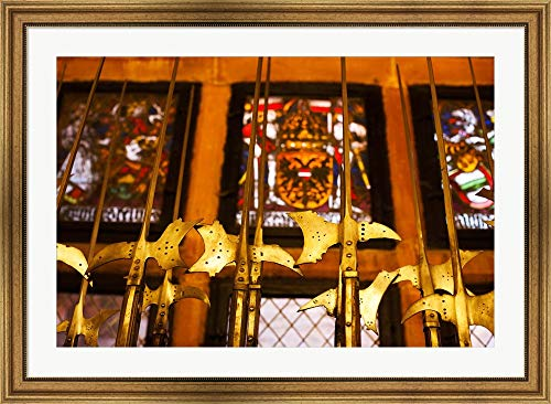 Medieval Armory, Chateau du Haut-Koenigsbourg, Orschwiller, Alsatian Wine Route, Bas-Rhin, Alsace, France by Panoramic Images Framed Art Print Wall Picture, Wide Gold Frame, 41 x 30 inches -