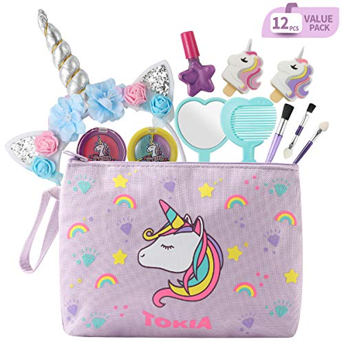 TOKIA Kids Makeup Kit for Girls with Cosmetic Bag(Unicorn Set)