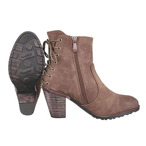 Ital-Design Cowboy-/Westernstiefeletten Damen Schuhe Cowboy Stiefel Kubanischer Absatz Western Style Reißverschluss Stiefeletten Braun Grau