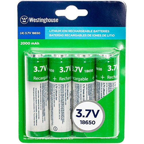 Li Ion Rechargable Battery - Westinghouse 4 Pack 3.7V 2000mAh Lithium Ion Rechargable Batteries