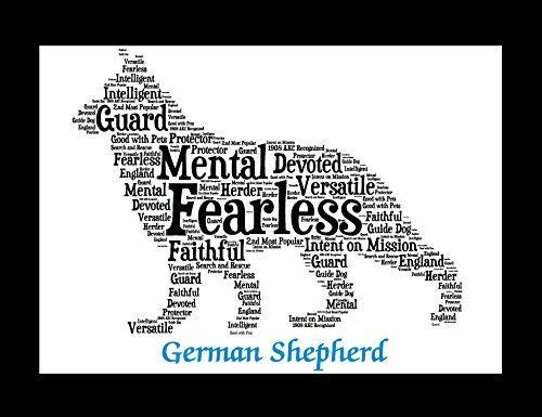 German Shepherd Dog Wall Art Print - Personalized Pet Name - Gift for Her or Him - 11x14 matted - Ships 1 Day -