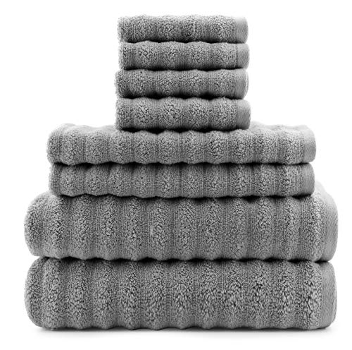 - Darware 100% Cotton Gray Towels (8-Piece Set), Quick-Dry 510 GSM Zero-Twist Bath Towels (Gray)