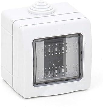 takestop® - Caja de 1 módulo para interruptores de Pared, JK_LK44001, IP55, Caja para Exterior, Placa de Puerta, Estanque, protección de enchufes: Amazon.es: Electrónica