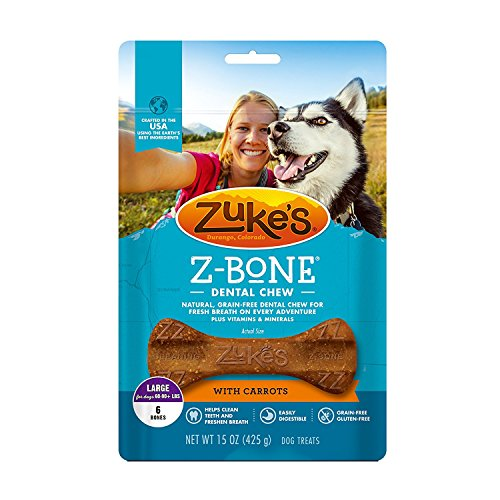 Zuke's Z-Bones Clean Carrot Crisp Large Dental Chew Dog Treats - 6 ct. x 2 pack