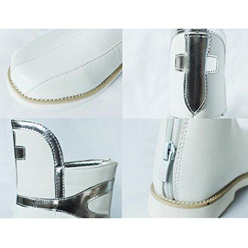 Short Boots Womens PU Silver Cross Rear Zipper COS Costume White mmMml1Okx