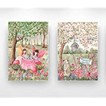 Personalized Girls Fairy Wrapped Canvas, Set Of 2, Girls Having Tea Party, Custom Girl's Name & Hair Color, Enchanted Forest