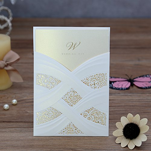 Doris Home Vertical Laser Cut Wedding Invitation with White Hollow Flora 100 pcs by Doris Home (Image #8)