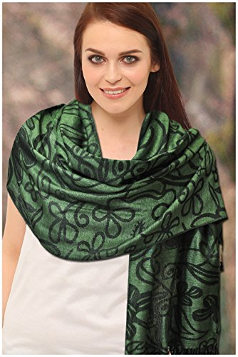 Green And Black Shamrock Pashmina Scarf by Carrolls Irish Gifts (Image #2)