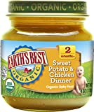 Earth's Best Organic Stage 2 Baby Food, Sweet Potato and Chicken Dinner, 4 oz. Jar (Pack of 12)