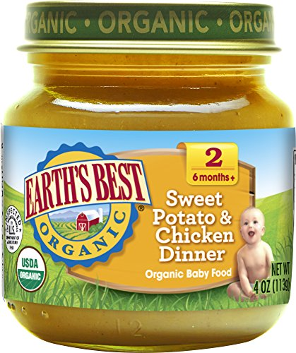 Earth's Best Organic Stage 2 Baby Food, Sweet Potato and Chicken Dinner, 4 oz. Jar (Pack of 12) ()