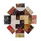Java Batiks Charm Pack, Set of 40 Precut 5 Inch Batik Squares CC102