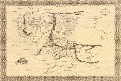Map Of Middle Earth The Lord Of The Rings Nice Silk Fabric Cloth Wall Poster Print (20x13inch)