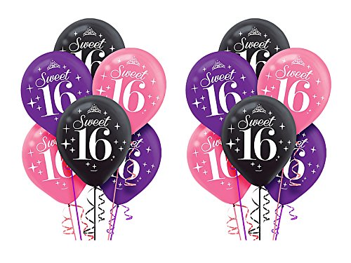 Celebrate Sweet 16 - 2 Pack of 6 Amscan Celebrate Sweet 16 12 inches Multi-color Balloons bundled by Maven Gifts