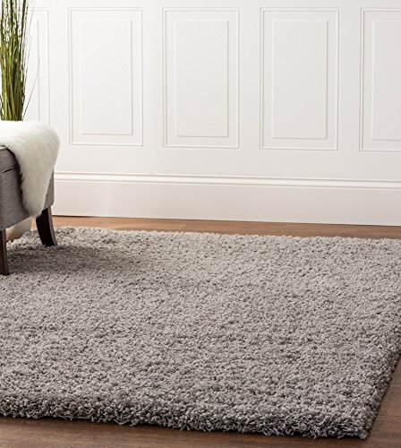 Super Area Rugs Solid Cozy Shag Rug for Home Decor 5' x 8', Light Gray