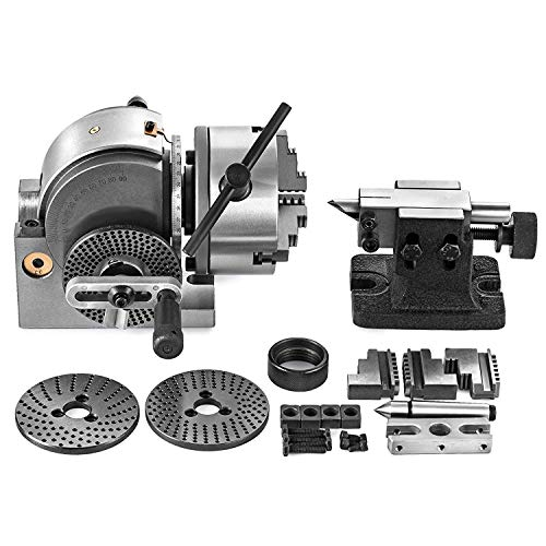 Mophorn Dividing Head BS-0 5Inch 3 Jaw Chuck Dividing Head Set Precision Semi Universal Dividing Head for Milling Machine Rotary Table Tailstock Milling Set (5 Inch - Table 4 Rotary Precision