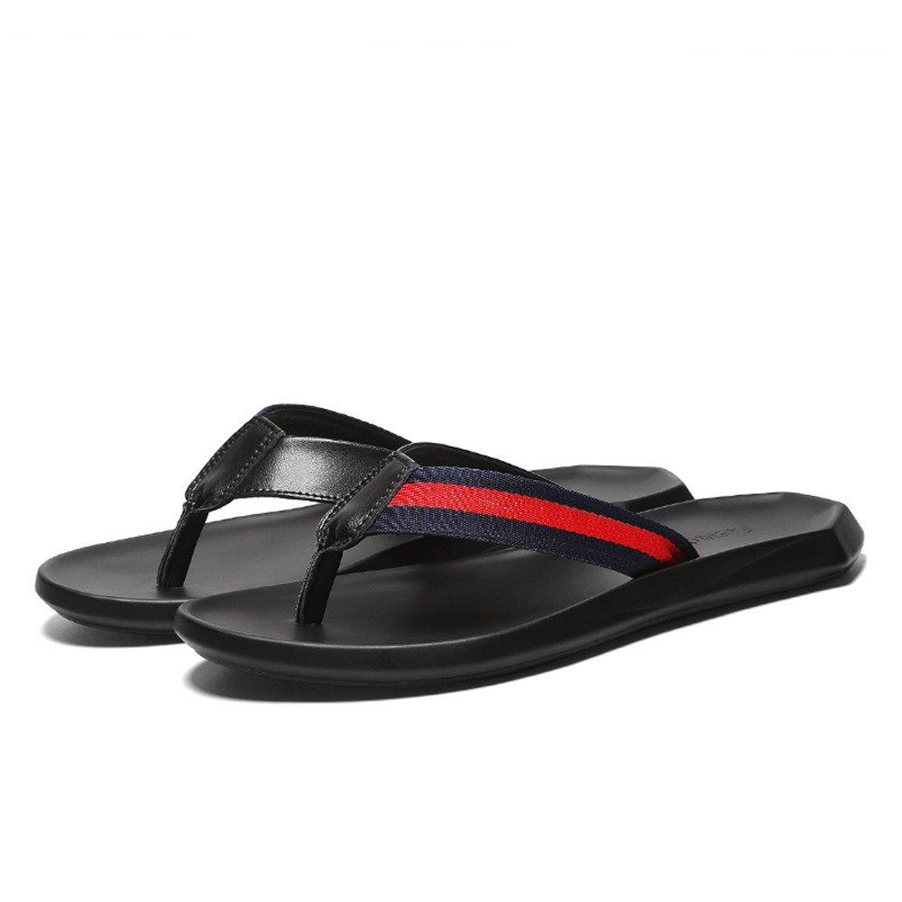Jiuyue-schuhe, Männer Casual Thong Flip Flip Flip Flops Schuhe aus echtem Leder Strand Hausschuhe rutschfeste weiche flache Sandalen schwarz,Herren Sandalen (Farbe : Schwarz, Größe : 43 EU) Schwarz dc48c0